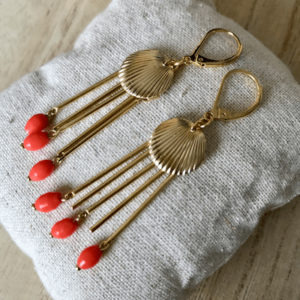 Boucles d'oreille Coquillage Corail